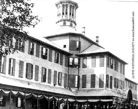 Second Ocean House Hotel, opened 1865, burned 1873.  It was the talk of the East Coast with its luxury, its 400 rooms and its 100 person tower with a commanding view from 60 feet up./ Rye Historical on SeacoastNH.com