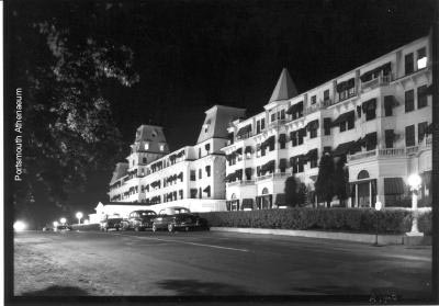 The hotel at night circa 1950 by Douglas Armsden