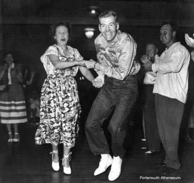 The Smiths at their weekly hoedown in the ballroom.